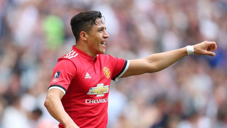 Alexis Sanchez celebrates after equalising for Man Utd