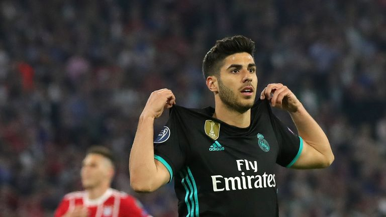 Marco Asensio celebrates after coming off the bench to score the winner against Bayern Munich