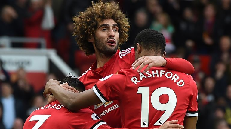 Watch highlights of Manchester United's 2-1 victory over Arsenal, which was sealed by a Fellaini goal