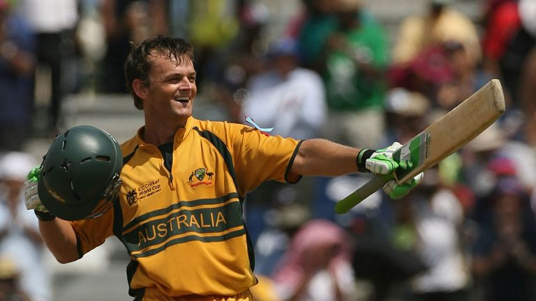 Adam Gilchrist celebrates his spectacular century in the 2007 final