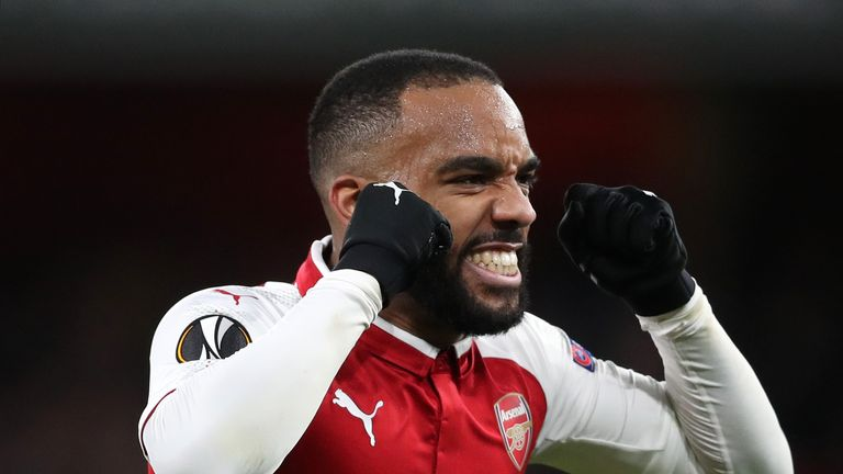 Alexandre Lacazette netted a double in Arsenal win