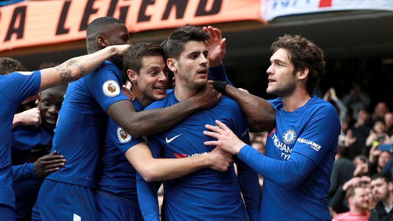 Chelsea's Alvaro Morata (centre) celebrates