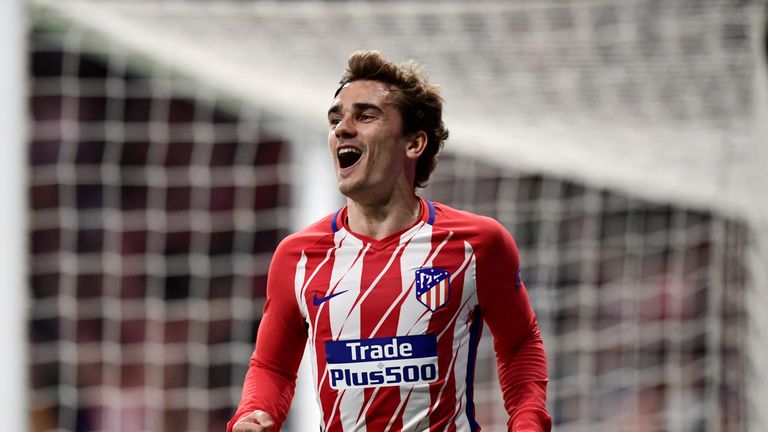 Antoine Griezmann celebrates scoring for Atletico Madrid against Sporting Lisbon in the Europa League