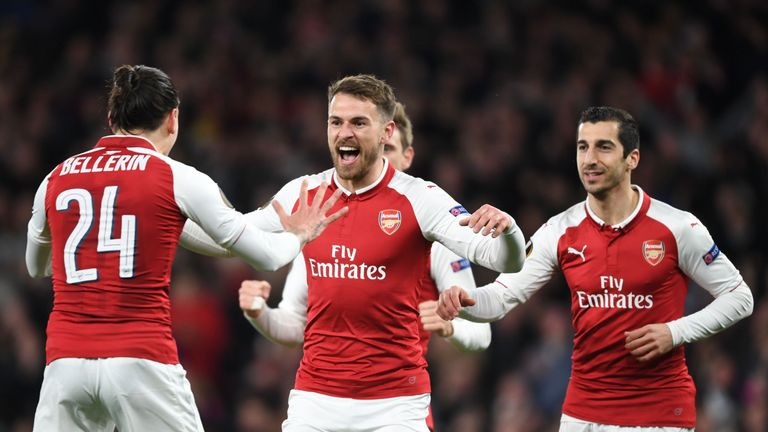 Aaron Ramsey scored a first-half double in Arsenal's 4-1 win over CSKA Moscow