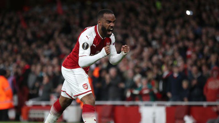 Arsenal's Alexandre Lacazette celebrates scoring the opening goal
