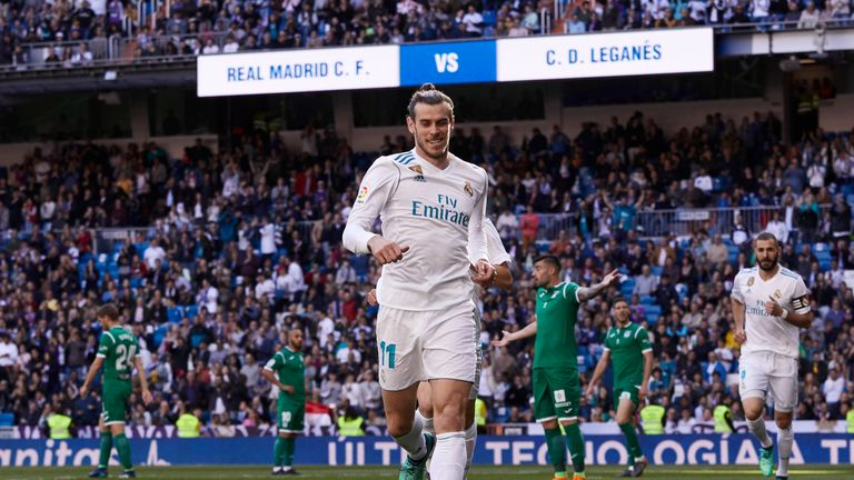 Gareth Bale celebrates his goal in the the 2-1 win over Leganes
