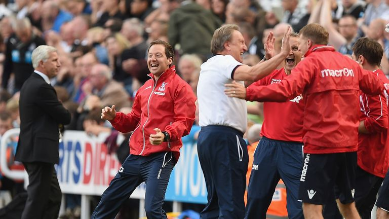 Ben Garner celebrates on the touchline during his time at Crystal Palace