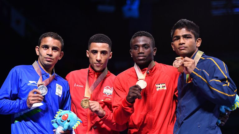 Yafai (second from left) poses with fellow medalists Amit, Juma Miiro and Thiwanka Ranasinghe