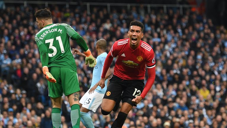 Chris Smalling gave United a 3-2 lead at the Etihad