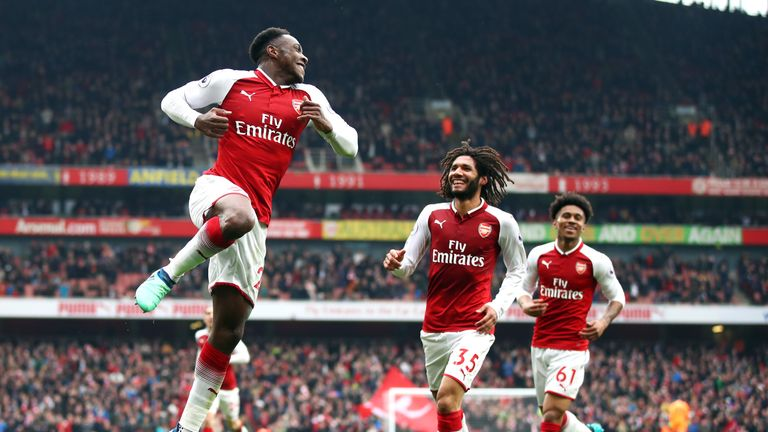 Welbeck celebrates scoring Arsenal's second goal, his first