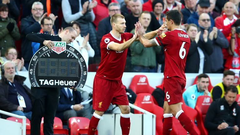 Dejan Lovren was taken off for Ragnar Klavan on 83 minutes against Bournmouth