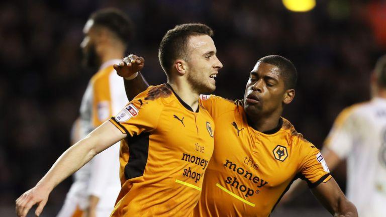 Jota celebrates his goal