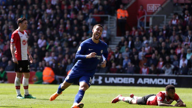 Eden Hazard celebrates scoring Chelsea's equaliser