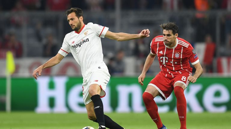 Sevilla's Franco Vazquez and Javi Martinez of Bayern Munich in action