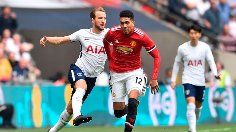 Harry Kane was frustrated by Chris Smalling and Manchester United at Wembley on Saturday