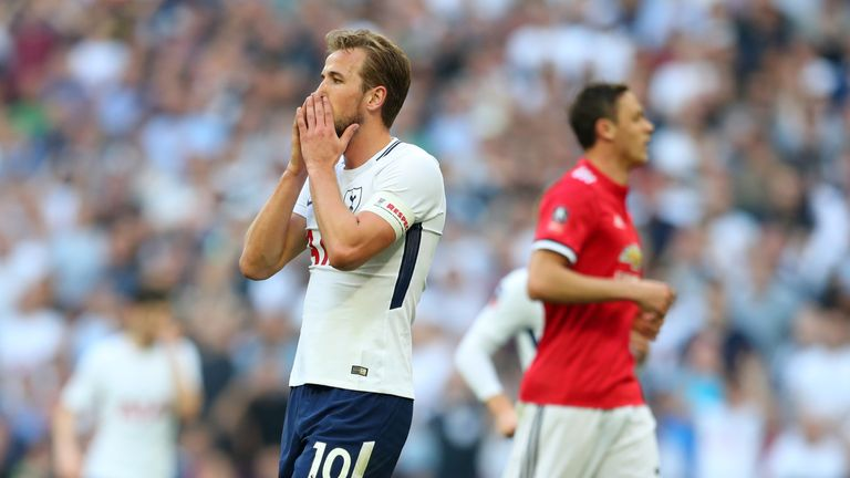 Kane endured a frustrating afternoon in the FA Cup semi-final against Manchester United