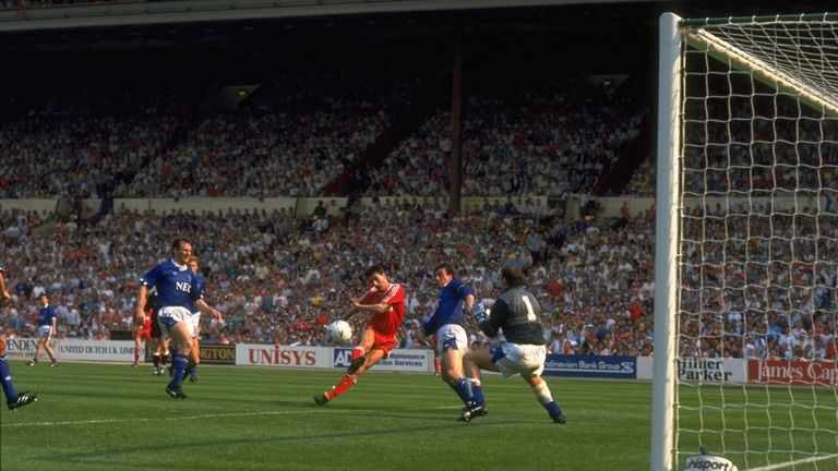 Rush scores against Everton in a 3-2 win for Liverpool in the 1989 FA Cup final