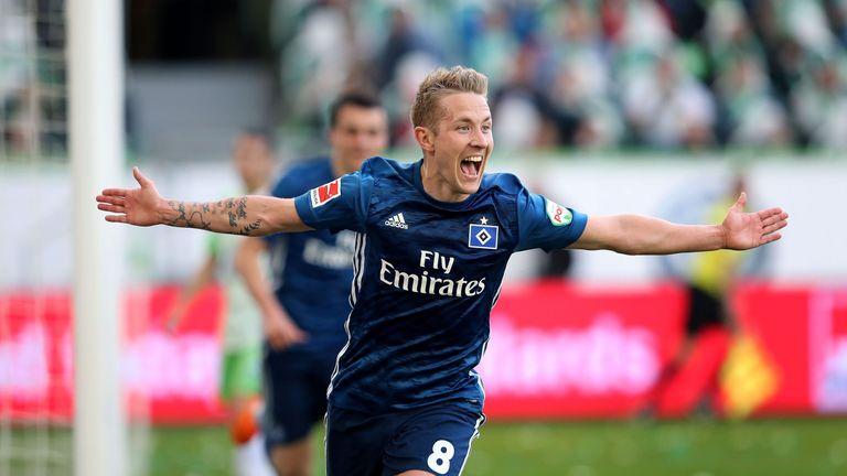 Former Tottenham midfielder Lewis Holtby starred in Hamburg's victory at Wolfsburg