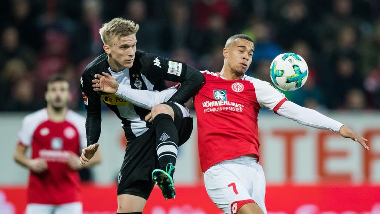 Monchengladbach's Oscar Wendt wins the ball in the stalemate with Mainz