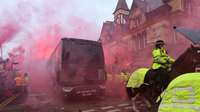 City's bus was attacked on the way to Anfield for the first leg of their Champions League quarter-final