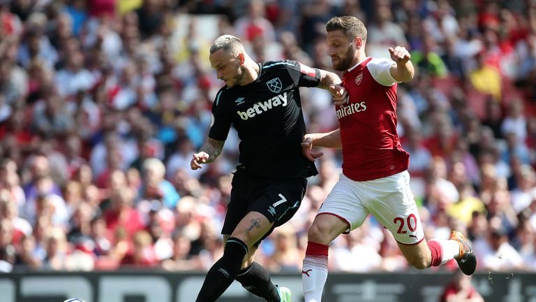 West Ham United's Marko Arnautovic (left) and Arsenal's Shkodran Mustafi (right) battle for the ball
