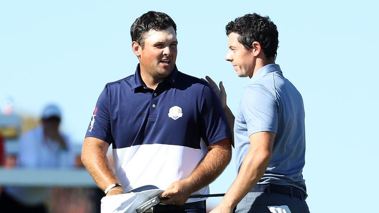 Patrick Reed and Rory McIlroy during the 2016 Ryder Cup
