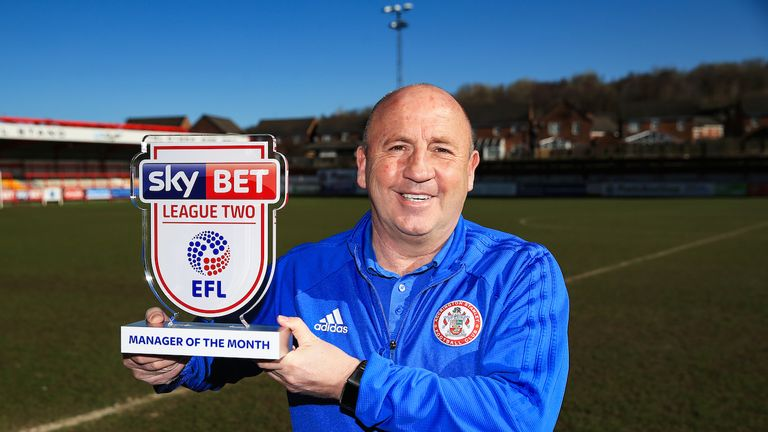 Accrington manager John Coleman is presented with the Sky Bet League Two Manager of the Month award for March