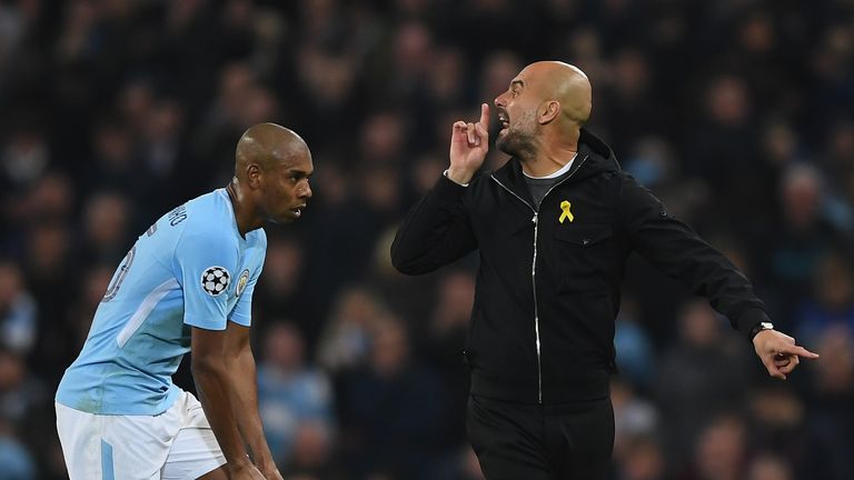 Pep Guardiola remonstrates with the officials during Manchester City's Champions League tie against Liverpool