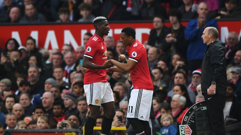Paul Pogba was subbed off after being yellow carded