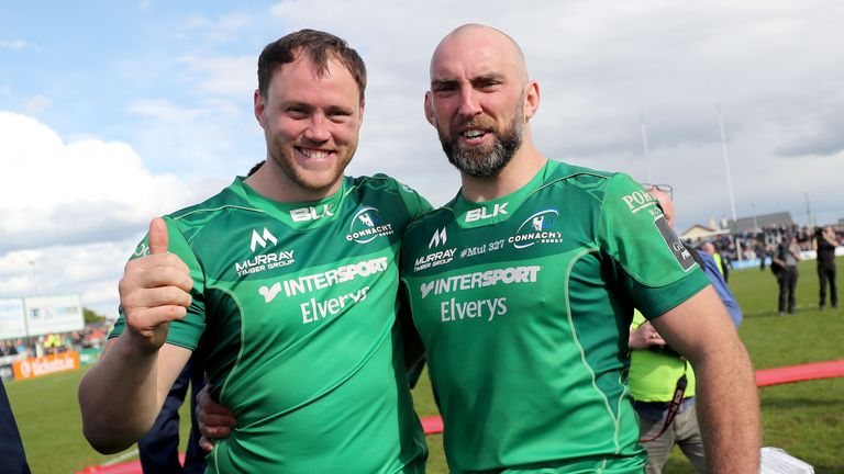Connacht's departing John Muldoon celebrates with Eoin McKeon