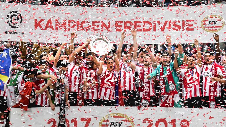 PSV celebrate winning the Eredivisie title