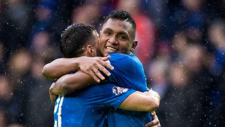 Rangers' Alfredo Morelos celebrates one of his 14 Premiership goals for Rangers this season