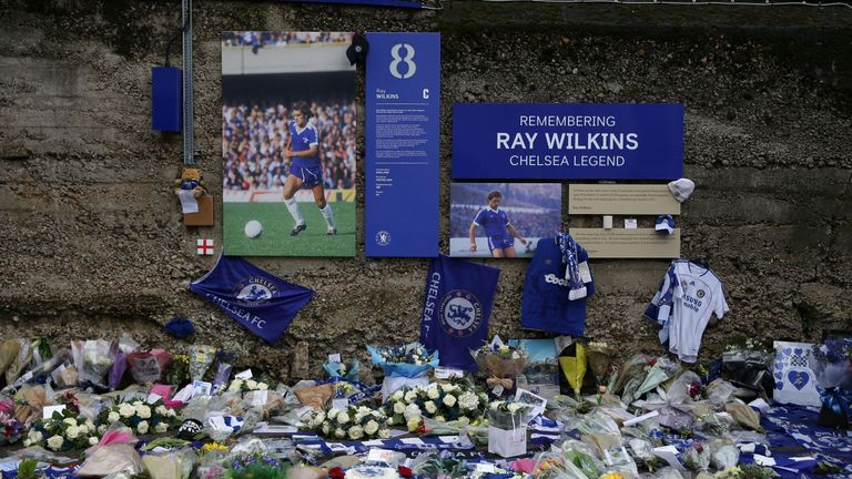A memorial to Wilkins outside Stamford Bridge
