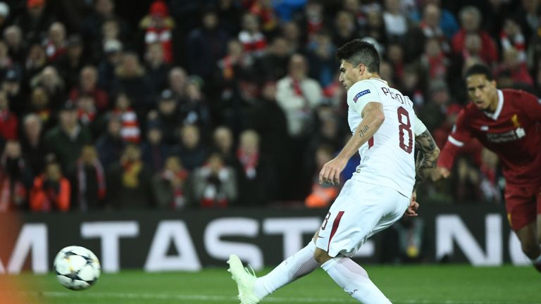 Diego Perotti pulled a second goal back for Roma from the spot