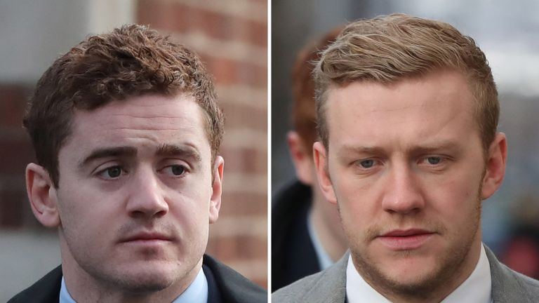 Paddy Jackson (left) and Stuart Olding's contracts have been revoked with immediate effect
