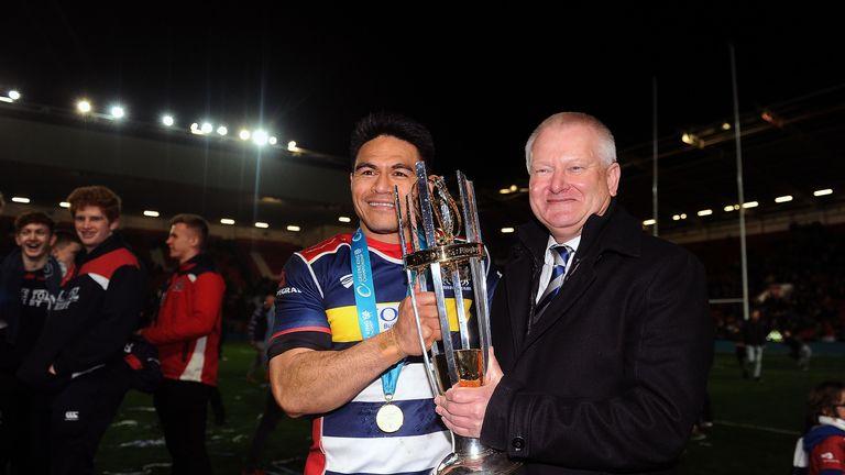 Steve Lansdown (right) celebrates Bristol's Championship title with David Lemi