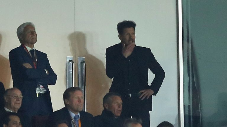 Diego Simeone watched over 75 minutes of the game from the stands