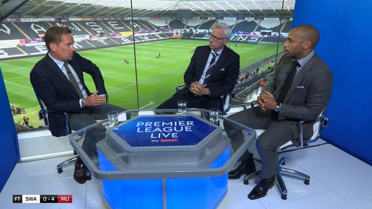 Simon Thomas, with analysts Thierry Henry and Alan Pardew, presenting Premier League Live for Sky Sports