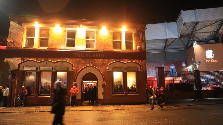 A view of The Albert pub on Walton Breck Road near Anfield after the UEFA Champions League, Semi-Final, First Leg between Liverpool and Roma