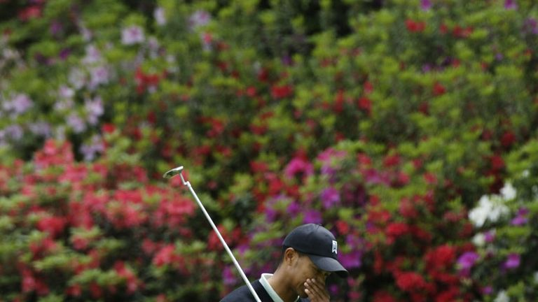 Woods struggled in the first round of the 2003 Masters
