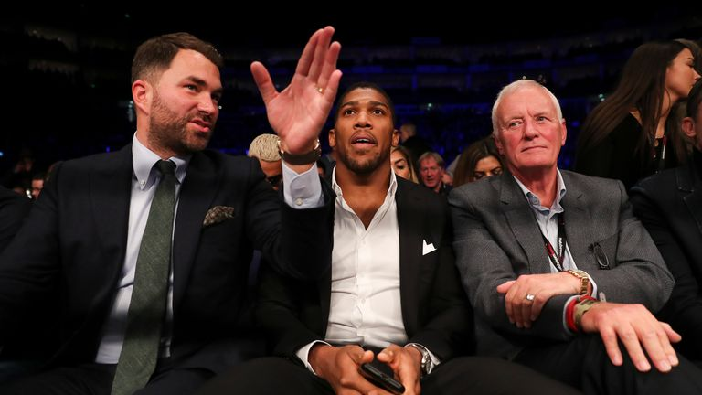 Eddie and Barry Hearn with Anthony Joshua