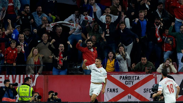 Wissam Ben Yedder celebrates giving Sevilla the lead over Real