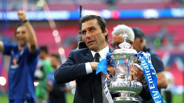Antonio Conte won the FA Cup in his last game in charge of Chelsea