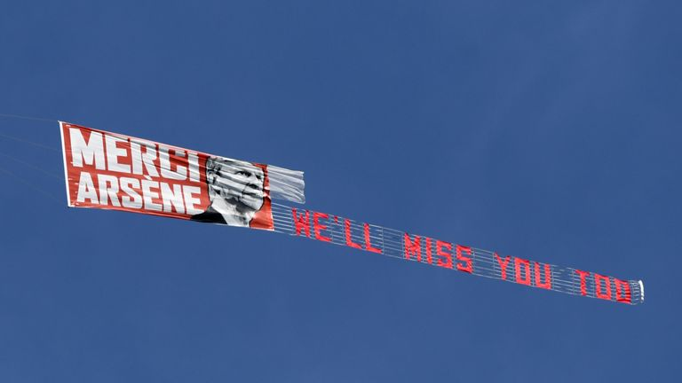 A banner was flown over the John Smith's Stadium in support of Wenger
