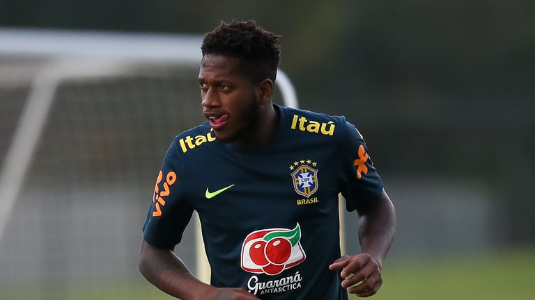 Fred trains with Brazil ahead of the World Cup