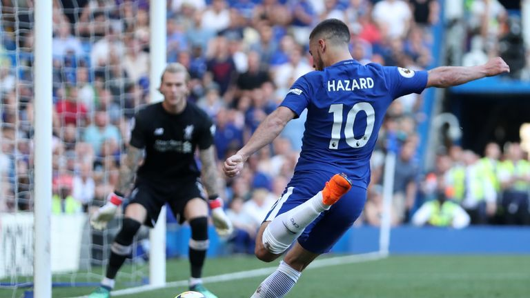 Eden Hazard came close in the second half with a shot from a tight angle