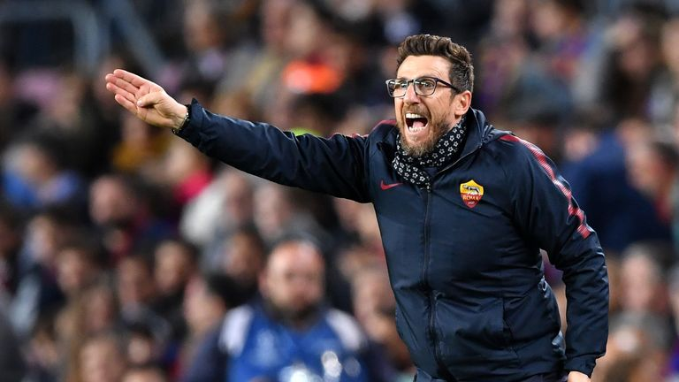 Roma boss Eusebio Di Francesco is on the verge of losing his job