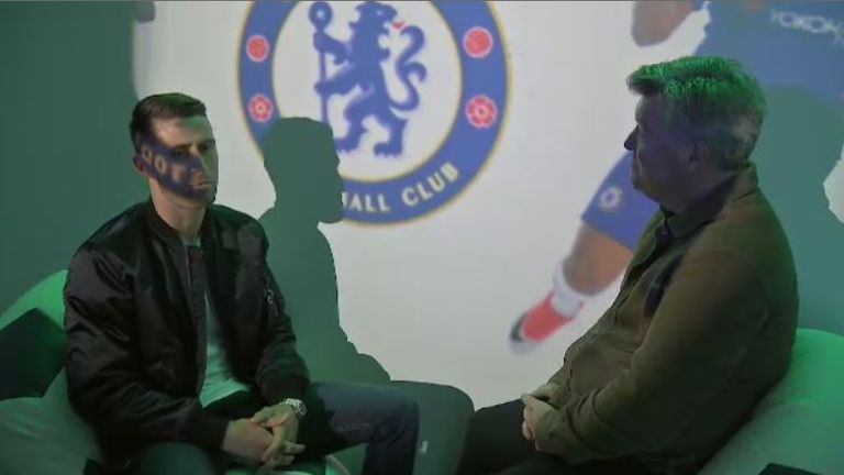 Cahill talks to Geoff Shreeves in Chelsea's sensory room