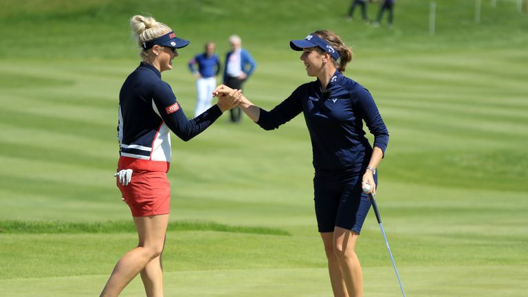 Georgia Hall and Charley Hull are through to the knockout stages of the GolfSixes