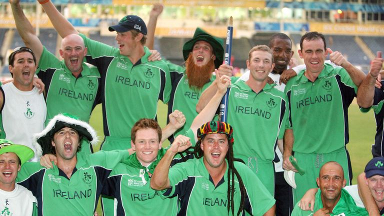 Ireland celebrate their upset win over Pakistan in the 2007 Cricket World Cup